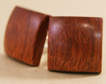 Square Wooden Cufflinks - South American Bloodwood