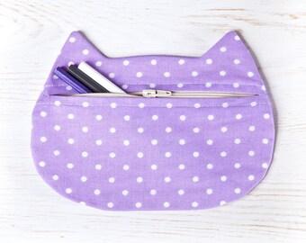 Puntos estuche de cosméticos púrpura, neceser de gato violeta, púrpura dama regalo, belleza bolso, bolsa de maquillaje, con cremallera bolso, regalo de mamá