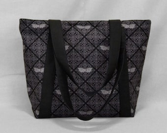 Gothic Damask Bats Zippered Tote Bag with Pockets, Black, Dark Gray
