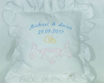 Ruffle pillow embroidered wedding marriage symbols and name & date