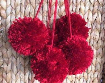 Cranberry Red Pom Poms, Extra Large Set of 5