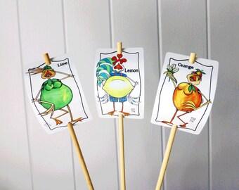 3 Citrus Signs Orange Lemon Lime Set for Gardens Humor Decor Aluminum UV Safe Garden Marker bamboo stake