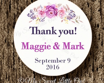 Purple Wedding label - pink flower wedding sticker - wedding thank tag - bridal shower printable - bridal shower label - wedding printable