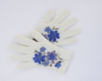 Gloves, white blue, felted wool gloves, gift for her, fall spring winter accessories, women gloves