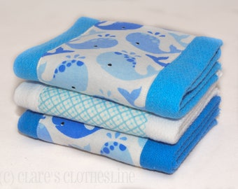 Baby Burp Cloths - Blue and White Whales Burp Cloth Set - Ready to Ship