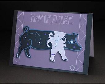 "Hampshire Pig 4.25"" x 6"" Blank Greeting Card"