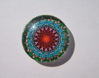 Glass cabochon round 20 mm with green, Burgundy rose image