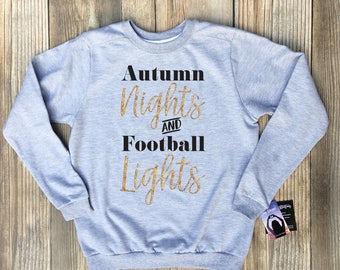 football sweatshirt, football mom sweatshirt, football mom sweatshirt with bling, glitter gold, glitter silver, autumn nights and football