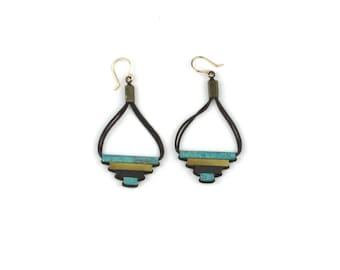 Teocalli Small Pyramid Earrings - Brass Patina Mix