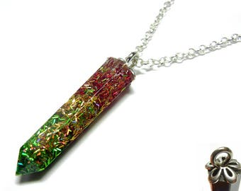 Resin Crystal Pendant - Rasta Holographic - 22 Inch Sterling Silver Necklace
