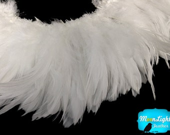 Rooster Feathers, 4 Inch Strip - Natural WHITE Strung Rooster Schlappen feathers : 433