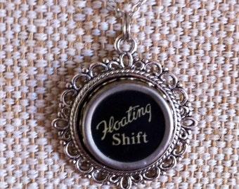 Typewriter key Floating shift pendant | Floating Shift key | black key in silvertone setting