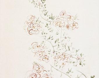 Rambling Vine Original Abstract Floral Watercolor Painting