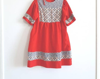 Vintage Red and Navy Girl's Dress