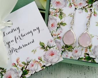 Blush Bridesmaid Earrings, Bridesmaid Jewelry, Bridesmaid Gift, Bridesmaid SET