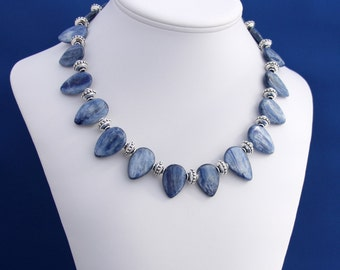 Kyanite Necklace, Blue Kyanite Necklace, Cornflower Blue Kyanite, Tribal Necklace, Kyanite Jewelry, Professional Womans Necklace