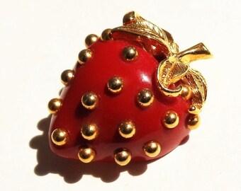 Vintage Kenneth Lane Strawberry Brooch, Red Enamel Gold Tone Metal Pin, Fun Figural KJL Signed Strawberry Brooch, Kenneth Lane Jewelry,1960s