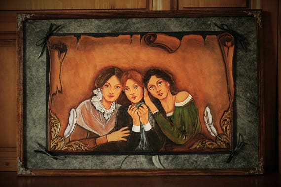 Painting, Brontë Sisters portraits, carved and embossing leather artwork,  georgian, victorian, XIXth century style, UNIQUE