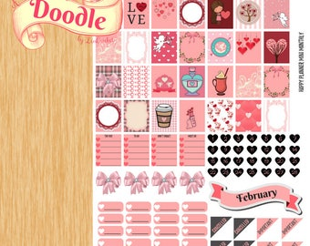 February Monthly Mini Happy Planner Stickers|Mini Happy Planner Stickers|Happy Planner Stickers
