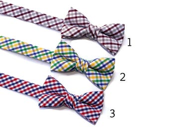 Boys Bow Ties~Boys Bow Tie~Boys Plaid Bow Ties~Cotton Bow Tie~Navy Bow Tie~Church Tie~Bow Tie~Wedding~Ring Bearer~Gift~Pre-tied Bow Tie