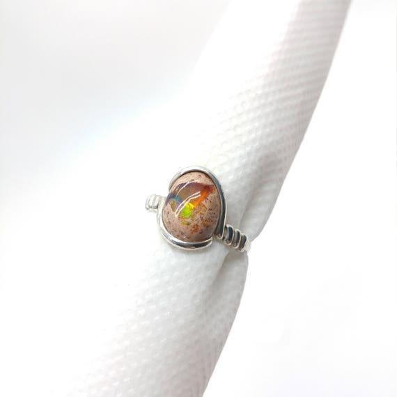 Natural Opal Ring | Opal Gift Ring | Cantara Opal Ring | Sterling Silver Ring Sz 8  | Boulder Opal Ring | Matrix Opal Ring | Opal Jewelry