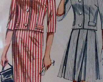 Vintage 1960s  Butterick Misses Two Piece Outfit  Sewing Pattern  #2258  Size 10 Bust Size 31