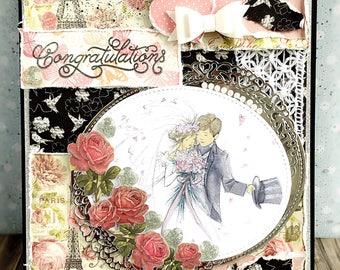 Handmade Wedding card in black - white - pink - shabby chic greeting cards - designer -  artist card - romantic and elegant
