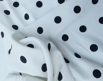 Black Polka Dot on White Fabric Woven Rayon by the Yard