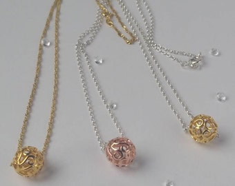 Filigree rose gold plated ball necklace, sterling silver ball necklace, yellow gold plated ball necklace, silver ball necklace