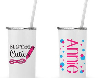 First Grade Cutie- Personalized 12 0z. Roadie Tumbler with Straw and Lid, Insulated Stainless Steel
