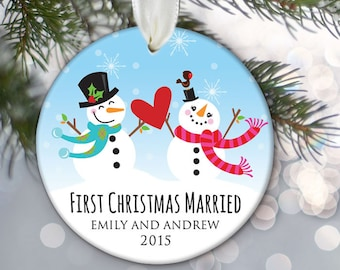 Our First Christmas Married Ornament, Newlywed Ornament, Personalized Snowman Ornament, Custom Wedding Gift, Ceramic Ornament OR679