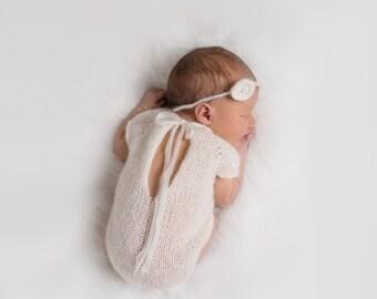 Newborn Romper, Newborn Romper Girl, Newborn Romper Prop, Newborn Photo Props, Knit Romper, Baby Romper, Photo Prop, Newborn Mohair Romper