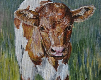 Cow Painting Texas Longhorn, Farmhouse Wall Decor, Country Home Decor Giclee Print, Rustic Wall Art Cow Painting, matted options
