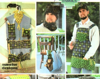 2000s Simplicity 5747 UNCUT Sewing Pattern Men's Quilted Accessories, Apron, Tool Organizer, Hat, Stadium Seat Pillow and Blanket