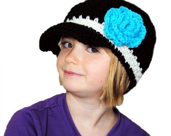 Crochet Newsboy Hat, Girls Newsboy, Toddler Girls Knit Hat, Crochet Flower Hat, Womens Spring Hat, Teen Newsboy Cap, GIrls Black Hat, Blue