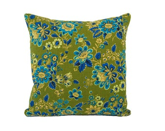 Vintage Mid-Century Floral Blue and Olive Pillow