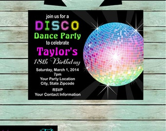 Disco Ball Dance Dancing Retro 70's Birthday Party Invitations Invites Personalized Custom ~ We Print and Mail to You