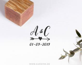 Wedding stamp de luxe • Wedding monogram  • Custom wood stamp • Elegant Wedding Invitations • Save the Date • Cardyes stamp