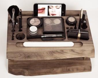 Wooden Makeup organizer, beauty station, makeup storage, makeup brush holder