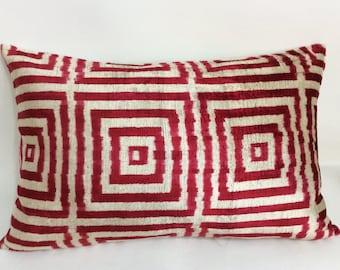 Ikat Pillow Case -  16'' x 24'' Decorative Pillows For Couch Sofa Pillows Lumbar Pillow Decorative Cushion Modern Pillow Cover