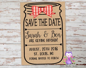 Mason Jar Save the Date Cards, Wedding Save the Dates, Country Save the Date Cards, Getting Hitched Save the Date Cards, Rustic