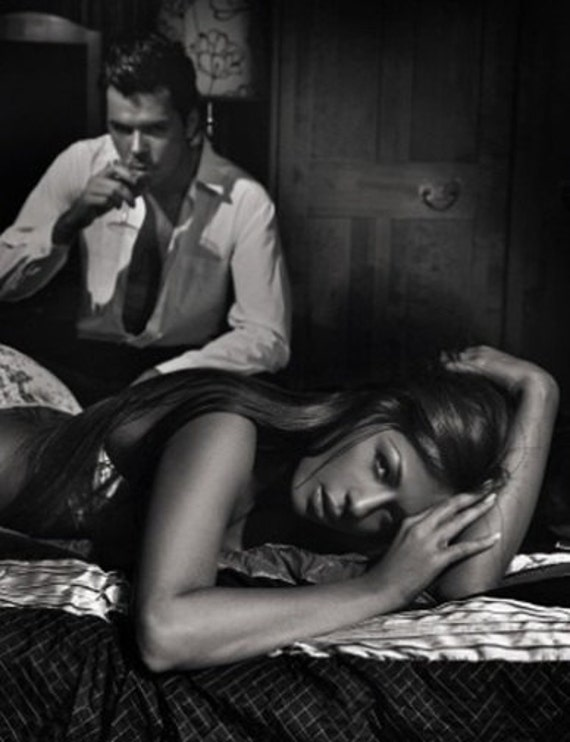 uncomfortable silence print of a 1950s era sexy couple. black