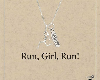 Sterling Silver Woman Runner Pendant Necklace with Sneaker 13.1 Half-Marathon Charm | Half Marathon, Fitness Jewelry, Sports Necklace