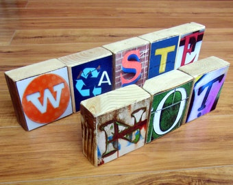 Recycled Upcycled Wood- ALPHABET Photography Blocks- spell anything you'd like- per block price