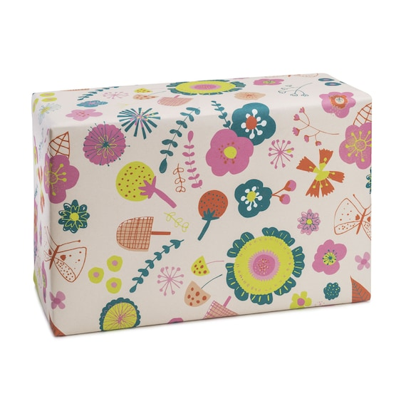 SUMMERTIME. Floral wrapping paper. Bright colours. Vibrant. Joyful. For her. For sister, mom, girlfriend. For baby girl