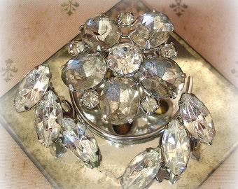 vintage rhinestone earrings and hair accessory . prong set rhinestones climber earrings rhinestone flower fascinator