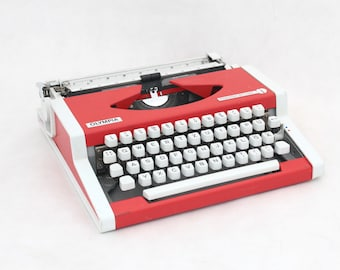 Vintage Typewriter Red White, Manual Portable Typewriter, OLYMPIA De luxe Typewriter, 70s,  Office Typewriter, Red Home Decor, Birthday gift