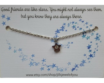 Long Distance Friendship Necklace - Best Friend Gift - Going Away Gift - Rhinestone Star Necklace - BFF- Gradation Gift - Charm Necklace
