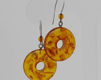 Amazing Large Natural Amber Hoop Earrings Art Deco 1 inch Diameter Silver Fixings