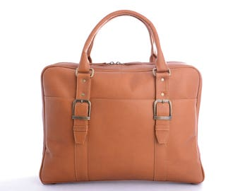 Genuine Vaquetta Tan or Brown Leather Overnight Bag, Laptop Bag, Hand crafted in Colombia